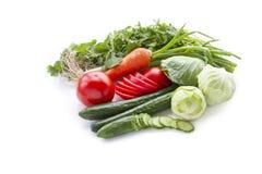 Tomaten, komkommers, kool, groene uien en koriander. royalty-vrije stock fotografie