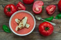 Tomaten koude soep Royalty-vrije Stock Afbeeldingen