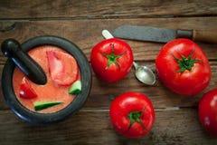 Tomaten koude soep Stock Afbeeldingen