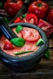 Tomaten koude soep Stock Fotografie
