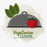 Tomaten lämnar vegetarisk kokkonstmagasinservice vektor illustrationer