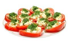 Tomaten met Mayonaise op Plaat Stock Afbeelding