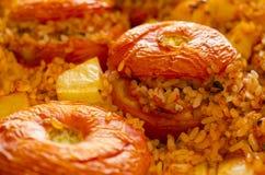 Tomaten met rijst worden gevuld die Stock Afbeelding