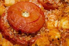 Tomaten met rijst worden gevuld die Royalty-vrije Stock Afbeelding