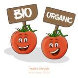 Tomaten mit Karikatur schauen mit Gesicht, Zeichen Lizenzfreie Stockbilder