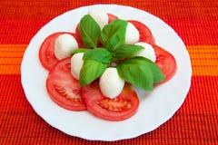 Tomaten mit Mozzarella stockfotografie