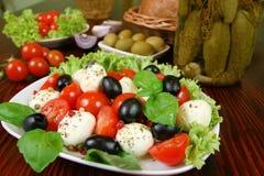Tomaten, Oliven, Käse Stockfotos