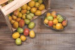 Tomaten op een houten achtergrond Royalty-vrije Stock Fotografie