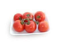 Tomaten op een tak. Stock Foto's