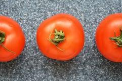Tomaten op grijze achtergrond stock fotografie