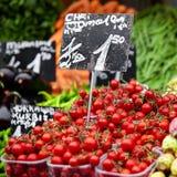 Tomaten op markt Royalty-vrije Stock Foto's