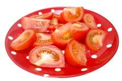 Tomaten op plaat Stock Afbeelding