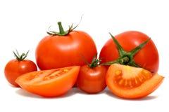Tomaten op witte achtergrond worden geïsoleerd die Royalty-vrije Stock Foto's