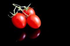 Tomaten op zwarte Stock Fotografie