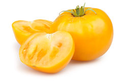 Tomaten oranje besnoeiing Stock Foto