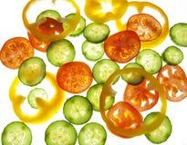 Tomaten, peper en komkommer Stock Afbeeldingen