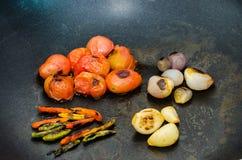 Tomaten, peper, uien Stock Fotografie