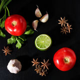 Tomaten, peterselie, groene ui, kalk, steranijsplant en knoflook Royalty-vrije Stock Afbeelding