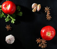 Tomaten, peterselie, steranijsplant en knoflook Royalty-vrije Stock Fotografie
