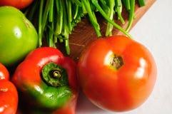 Tomaten, Pfeffer und Scallions Lizenzfreie Stockbilder