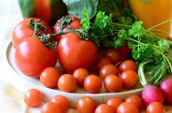 Tomaten, Rettiche, Pfeffer und Petersilie auf hölzernem hackendem Brett Lizenzfreie Stockfotos