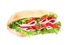 Tomaten-, Salami- und Pfeffersandwich Stockbild