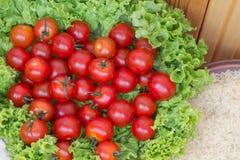 Tomaten sind auf Kopfsalatblättern, nahe Platte des Reises Stockbild