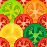 Tomaten skivar Seamless mönstrar bakgrund Royaltyfri Illustrationer