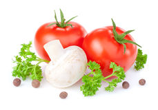 Tomaten, Tastenpilze, Petersilie und Jamaikapfeffer stockbilder