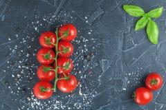Tomaten und Basilikum auf schwarzem Stein mit Salz Lizenzfreies Stockfoto