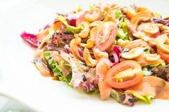 Tomaten- und Gemüsesalat mit Fleisch des geräucherten Lachses Lizenzfreie Stockbilder