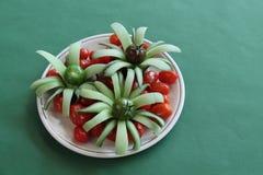 Tomaten und geschnittene Gurke Stockbild