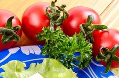 Tomaten und Kopfsalat Lizenzfreie Stockfotografie