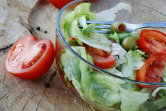 Tomaten- und Kopfsalatsalat Lizenzfreie Stockfotografie