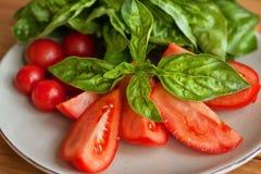 Tomaten- und Mozzarellascheiben mit Basilikumblättern Stockbilder