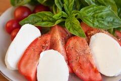 Tomaten- und Mozzarellascheiben mit Basilikumblättern Stockfoto