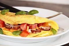 Tomaten-und Pilz-Omelett Stockfotografie