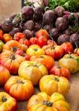 Tomaten und rote Rüben Stockfotos