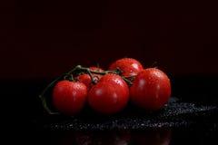 Tomaten unter Wassertropfen Stockbilder