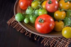 Tomaten van verschillende soorten en kleuren stock foto