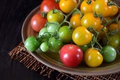 Tomaten van verschillende soorten en kleuren royalty-vrije stock foto's