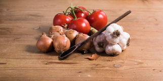 Tomaten-Zwiebel-Knoblauch mit Löffel Lizenzfreies Stockbild