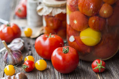 Tomatendomeinen in de kruiken Stock Foto's