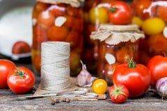 Tomatendomeinen in de kruiken Royalty-vrije Stock Foto's