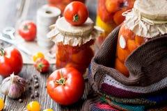 Tomatendomeinen in de kruiken Stock Afbeeldingen