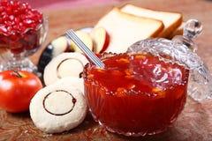 Tomatenjam, Takkali-jam, Tamator-Jam stock afbeelding