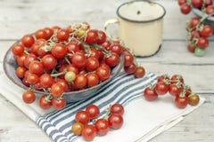 Tomatenkirsche in einer rustikalen Schüssel Stockbild
