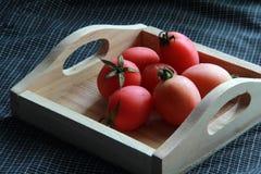 tomatenkleur op houten dienblad Stock Afbeelding