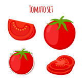 Tomatenreeks in beeldverhaal vlakke stijl die wordt gemaakt Etiket voor markt Royalty-vrije Stock Afbeeldingen