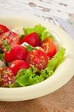 Tomatensalat mit Kopfsalat, Käse Stockfotos